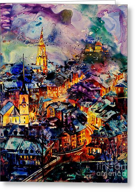 Watercolor On Yupo Synthetic Paper Of Bern Switzerland Greeting Card by Ryan Fox