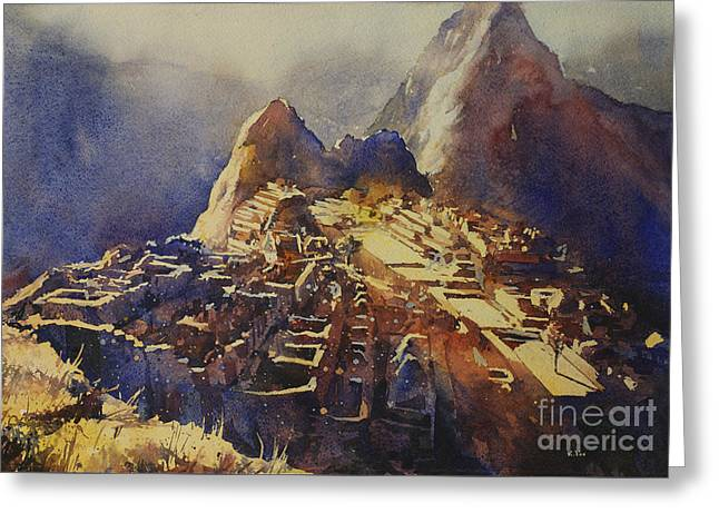 Watercolor Painting Machu Picchu Peru Greeting Card