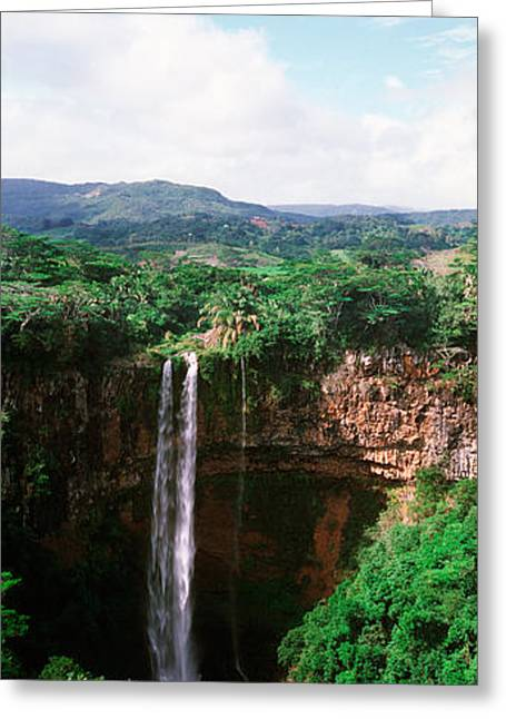 Waterfall, Chamarel Waterfall Greeting Card by Panoramic Images