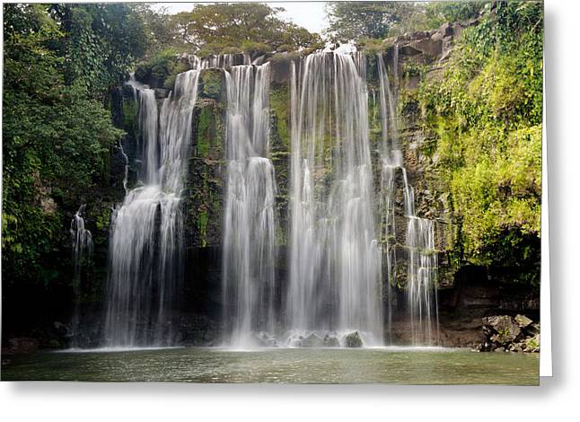 Waterfall In A Forest, Llanos De Cortez Greeting Card by Panoramic Images