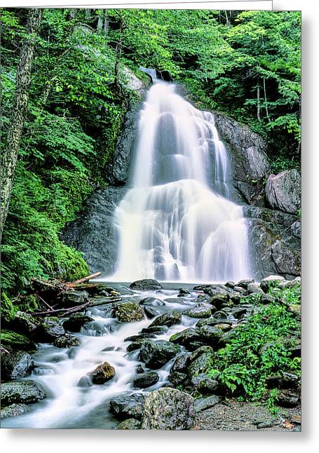 Waterfall In A Forest, Moss Glen Falls Greeting Card