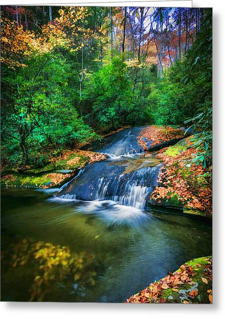 Waterfalls Great Smoky Mountains Painted  Greeting Card