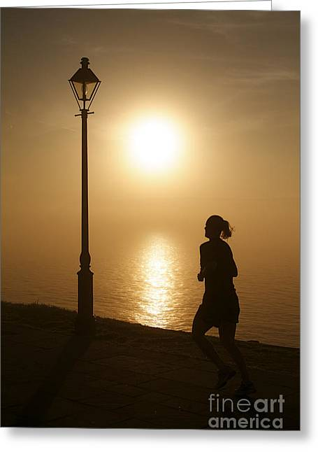 Waterfront Sidewalk In The Golden Morning Dawn Greeting Card