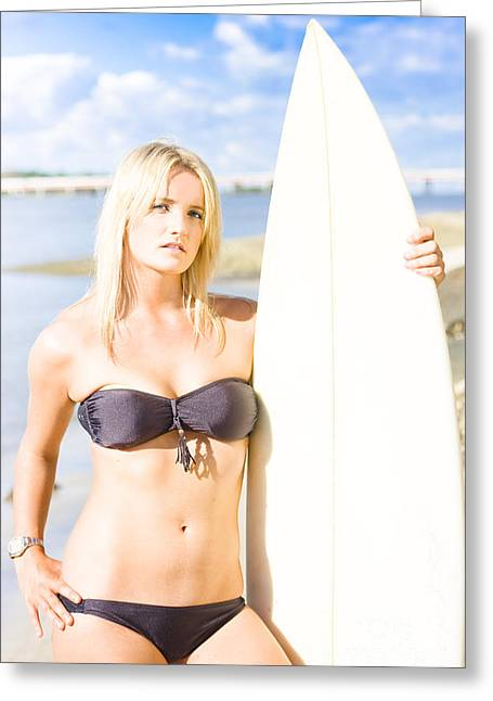 Watersport Woman Holding Surfboard Greeting Card