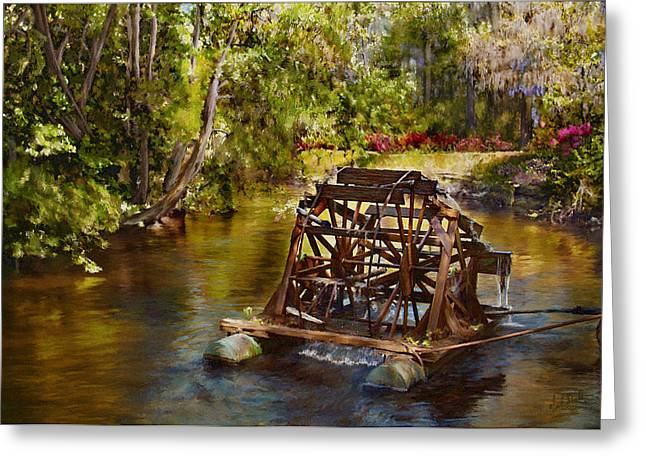 Waterwheel Greeting Card by Noel Steele