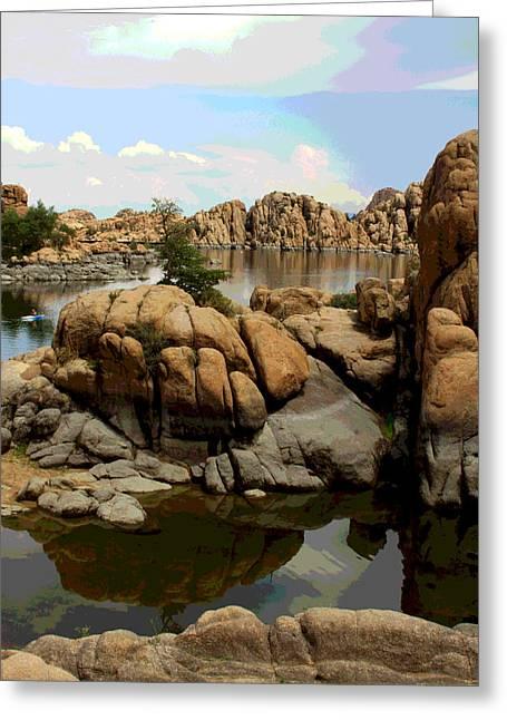 Watson Lake Reflections Greeting Card by Greg Thiemeyer