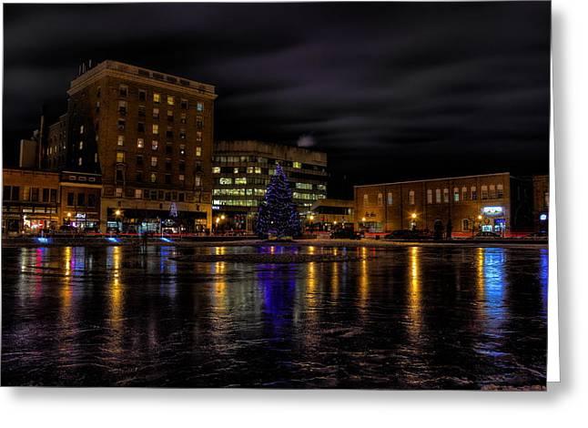 Wausau After Dark At Christmas Greeting Card