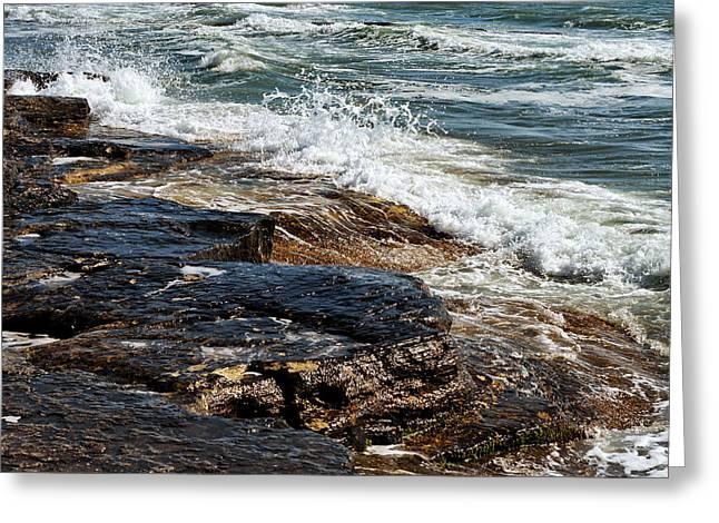 Waves Break On The Rocks. Greeting Card by Alexandr  Malyshev