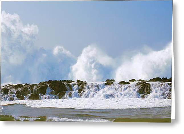 Waves Breaking At Rocks, Oahu, Hawaii Greeting Card