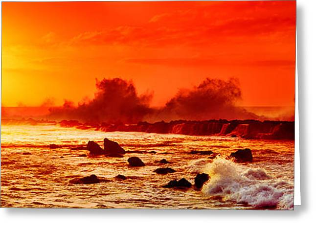 Waves Breaking On Rocks In The Ocean Greeting Card by Panoramic Images