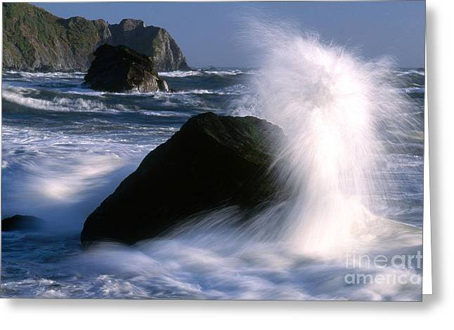 Waves Breaking On Shore Greeting Card by Jim Corwin