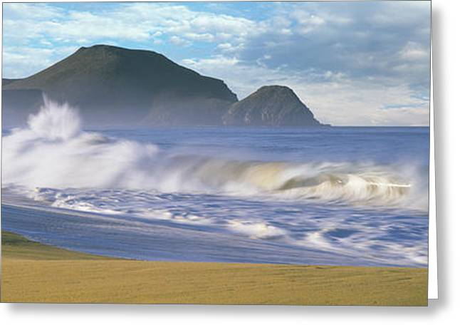 Waves Breaking On The Beach, Playa La Greeting Card by Panoramic Images