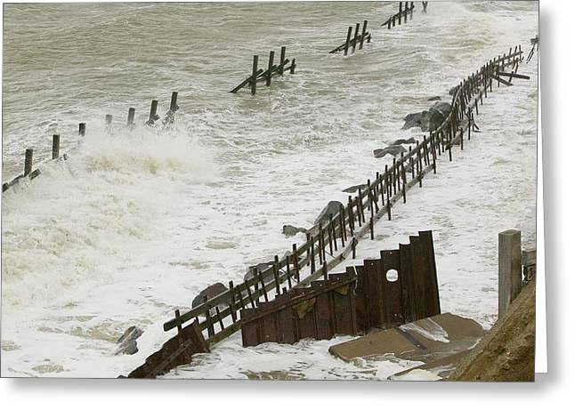 Waves Crashing Against The Sea Defences Greeting Card