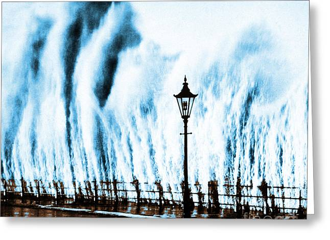 Waves Smashing Seawall 1938 Greeting Card by Science Source