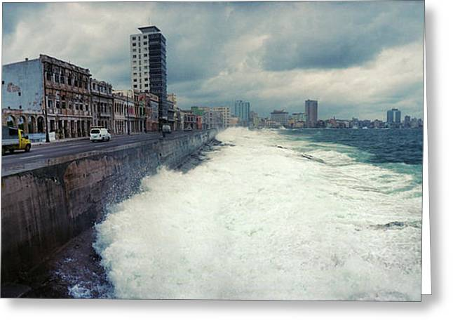 Waves Splashing Into The Malecon Greeting Card by Panoramic Images