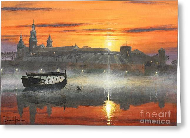 Wawel Sunrise Krakow Greeting Card by Richard Harpum