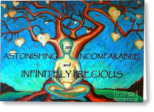 Greeting Card featuring the painting We Are Infinitely Precious by Janet McDonald