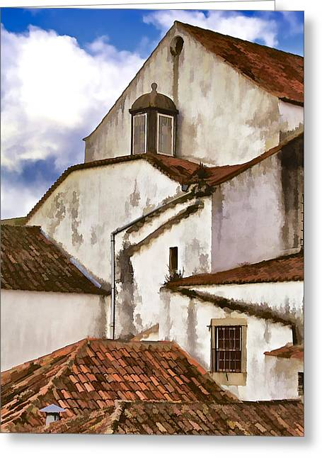 Weathered Buildings Of The Medieval Village Of Obidos Greeting Card