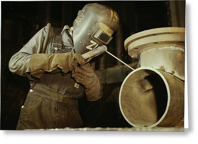 Welder Making Boilers For A Ship, 1942 Greeting Card by Stocktrek Images