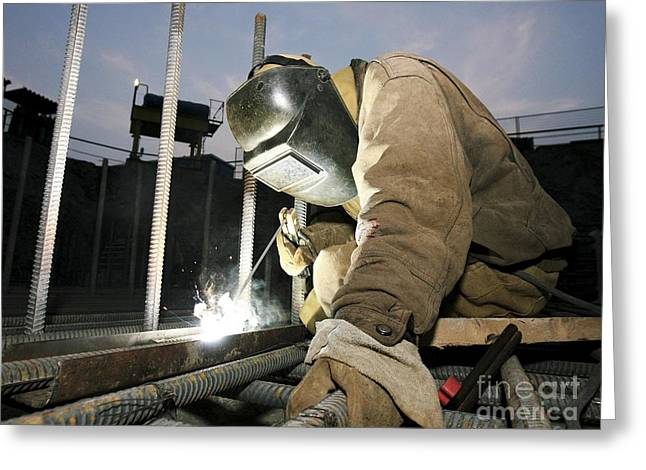 Welder Working On A New Bridge Greeting Card by RIA Novosti