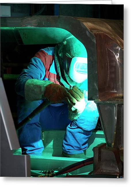 Welding In Train Construction Greeting Card