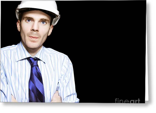 Well Dressed Engineer Isolated On Black Background Greeting Card