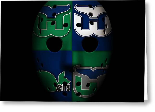 Whalers Goalie Mask Greeting Card