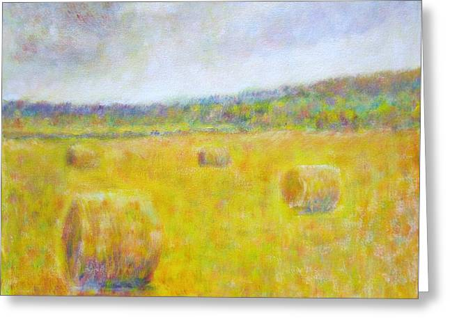 Wheat Bales At Harvest Greeting Card