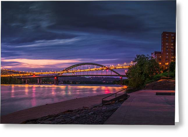 Wheeling Suspension Bridge  Greeting Card by Mary Almond