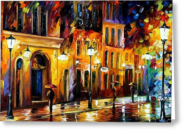 When The City Sleeps Greeting Card by Leonid Afremov