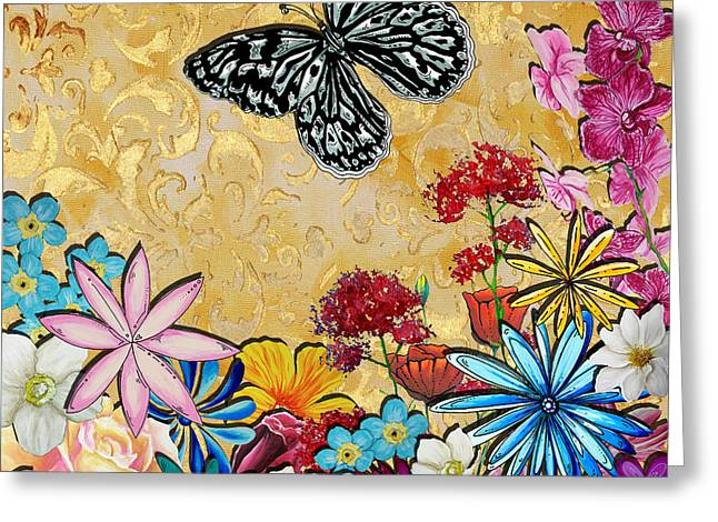 Whimsical Floral Flowers Butterfly Art Colorful Uplifting Painting By Megan Duncanson Greeting Card by Megan Duncanson