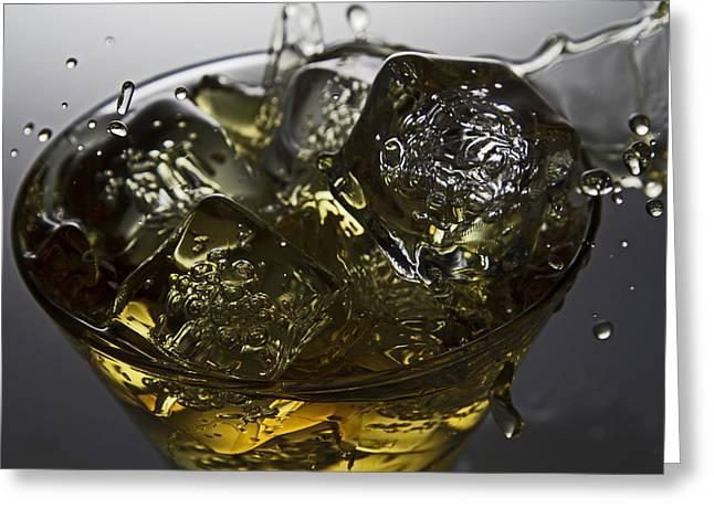 Greeting Card featuring the digital art Whiskey Splash by John Hoey