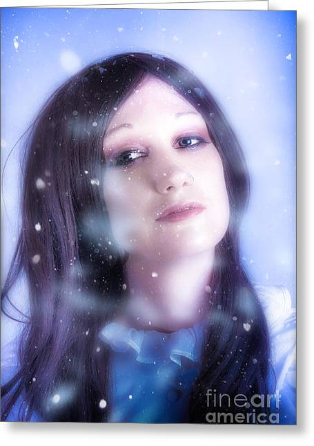 White Christmas Girl. Falling Snow And Ice On Face Greeting Card