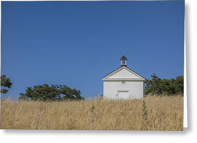 White Country Church Greeting Card by David Litschel
