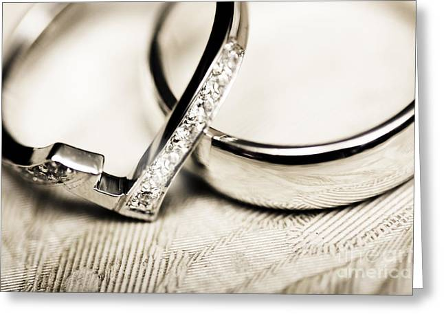 White Gold Wedding Rings Greeting Card by Jorgo Photography - Wall Art Gallery