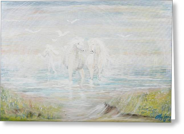 Greeting Card featuring the painting White Horses by Cathy Long