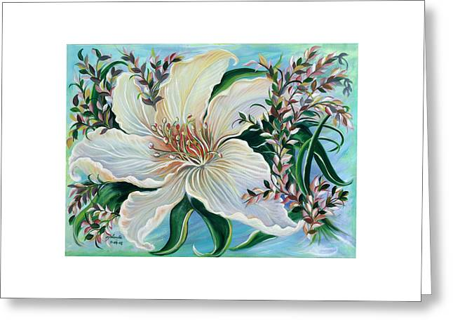 White Lily Greeting Card by Yolanda Rodriguez