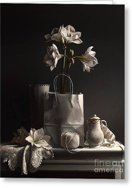 White On White Greeting Card by Larry Preston