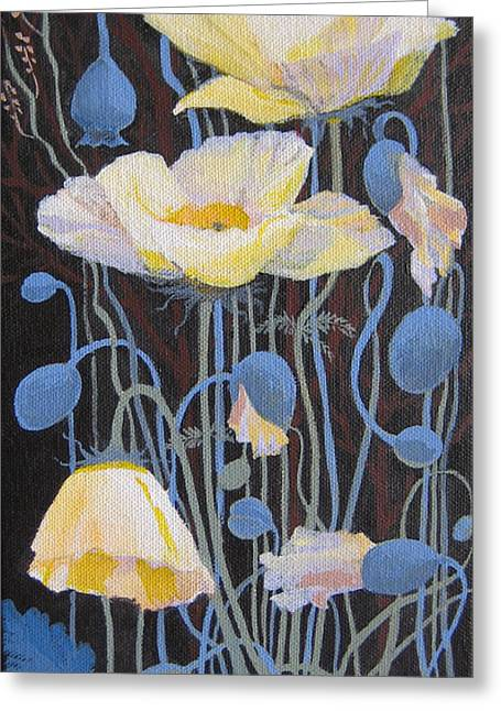 Greeting Card featuring the painting White Poppies by Marina Gnetetsky