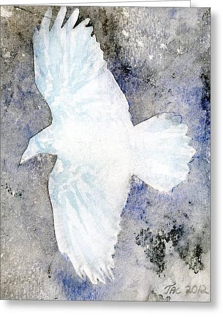 White Raven Greeting Card