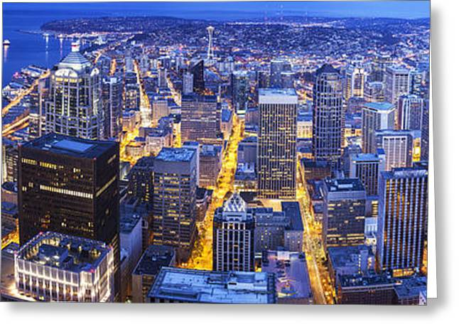 Wide Seattle Cityscape Greeting Card by Mike Reid