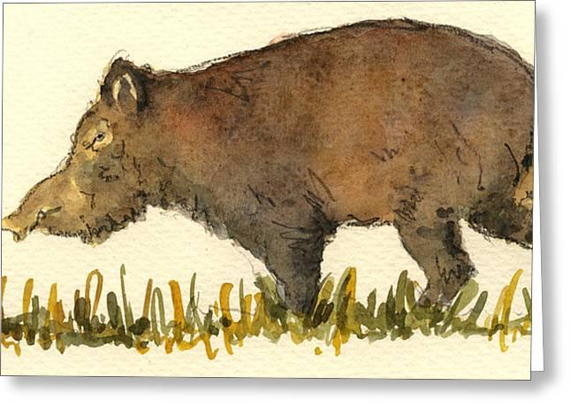 Wild Pig Greeting Card