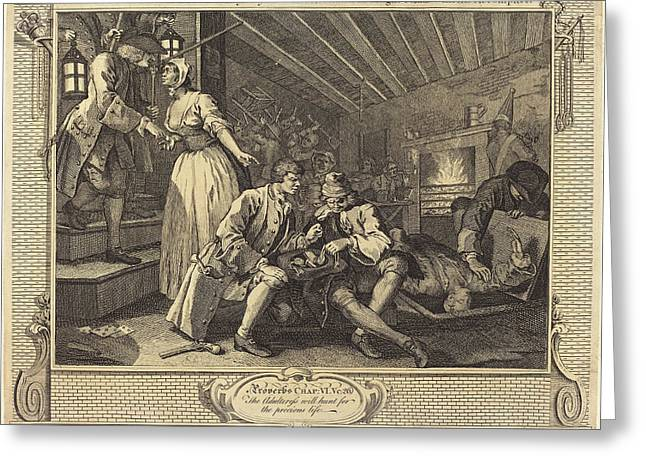 William Hogarth English, 1697 - 1764, The Idle Prentice Greeting Card by Quint Lox
