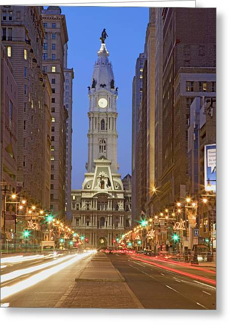 William Penn Statue On The Top Of City Greeting Card