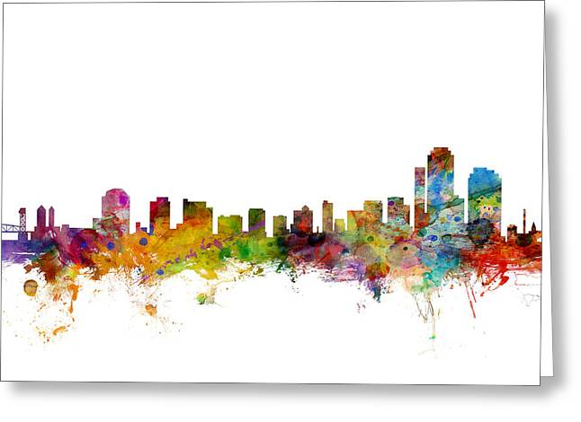 Wilmington Delaware Skyline Greeting Card by Michael Tompsett