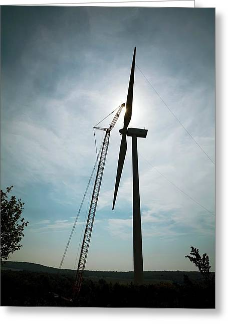 Wind Turbine Assembly Greeting Card