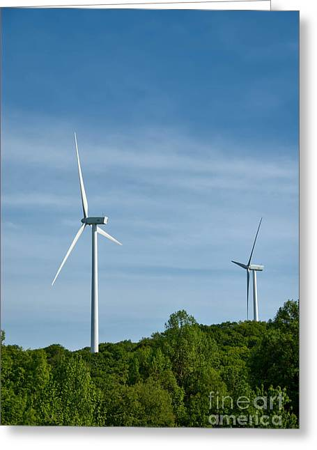 Wind Turbines Greeting Card by Amy Cicconi