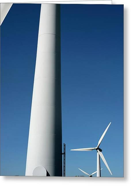 Wind Turbines Greeting Card by Robert Brook