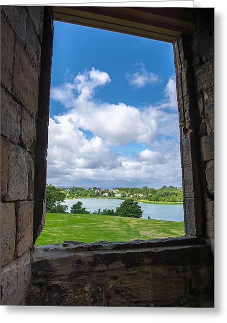 Window In Linlithgow Palace With View To A Beautiful Scottish Landscape Greeting Card