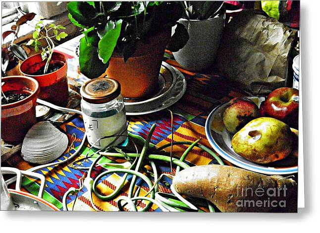 Window Table In Harlem Greeting Card by Sarah Loft